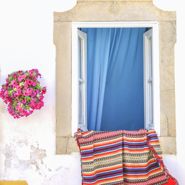"""""""Portugese house with rug"""" stock image"""