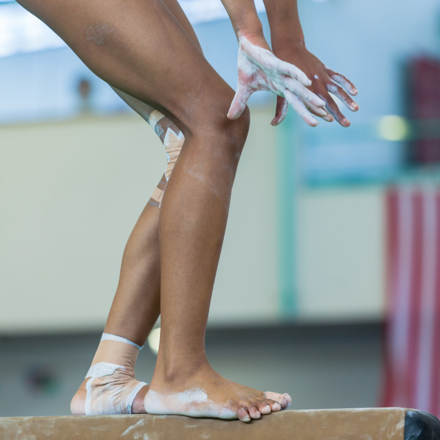 """Gymnast Girl Beam Routine Legs Hands"" stock image"