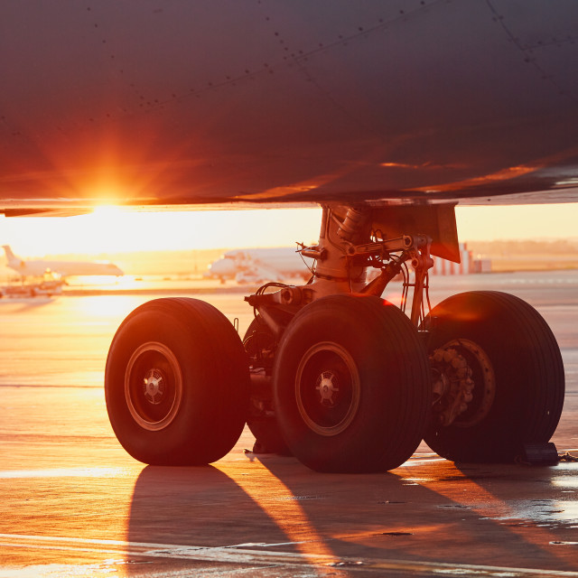 """Landing gear of the airplane"" stock image"