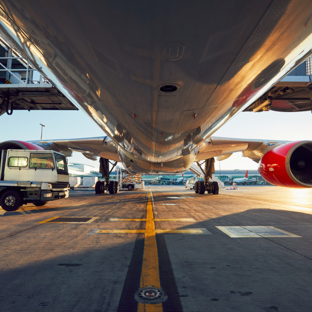"""Low angle view of the airplane"" stock image"