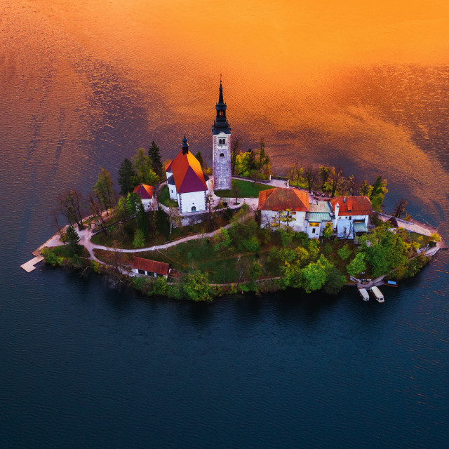 """Aerial view of church of Assumption in Lake Bled, Slovenia"" stock image"