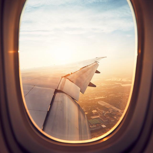 """Landing at the sunrise"" stock image"