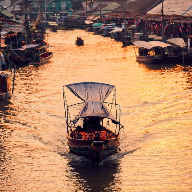 """Traditional floating market"" stock image"