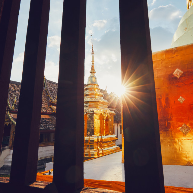 """""""Buddhist temple at the sunset"""" stock image"""