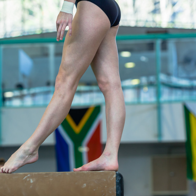 """Gymnastics Girl Feet Balance Beam Closeup"" stock image"