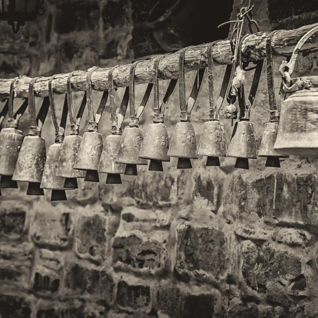 """Rhodope brass sheep bells"" stock image"