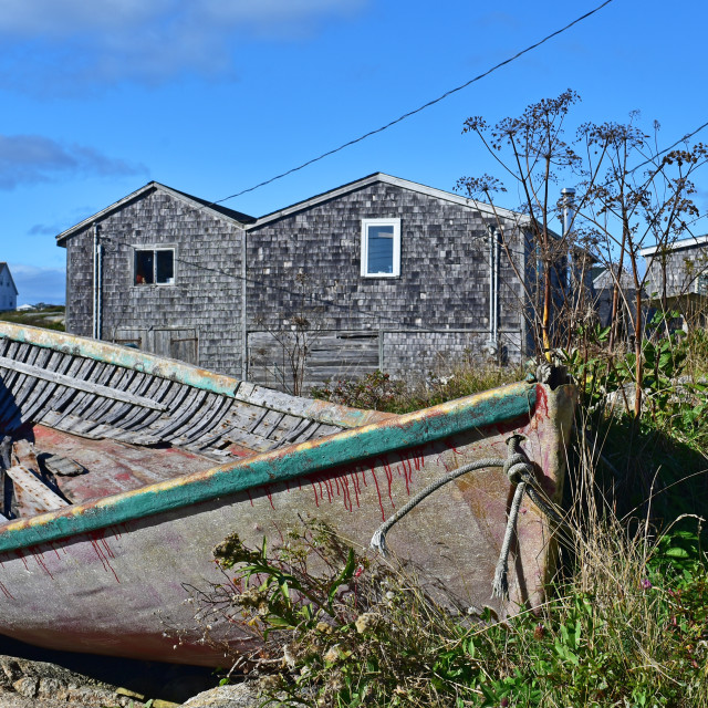 """Abandoned Boat, Peggy's Cove"" stock image"