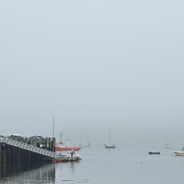 """St. Andrews by the Sea Fog, New Brunswick"" stock image"
