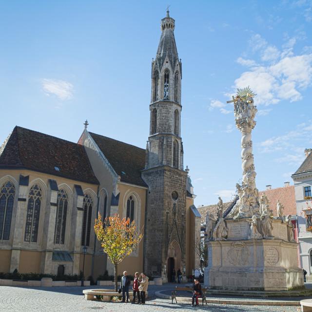 """Goat Church and Holy Trinity Column"" stock image"
