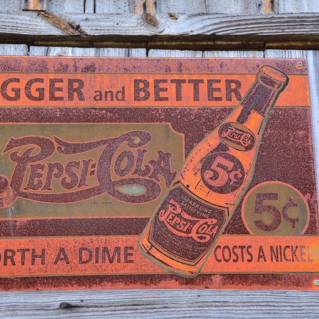"""Old rusty vintage sign with Pepsi logo."" stock image"