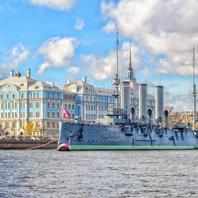 """""""Aurora Cruiser, St Petersburg, Russia"""" stock image"""
