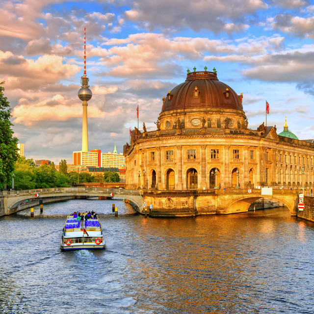 """Bode museum on Spree river and Alexanderplatz TV tower in center of Berlin,..."" stock image"