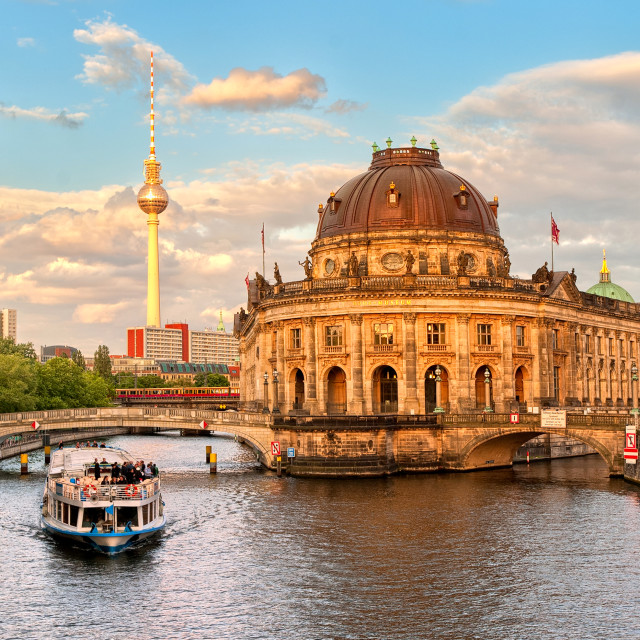 """Museum island on Spree river and Alexanderplatz TV tower in center of Berlin,..."" stock image"