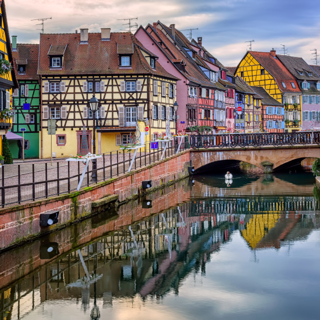 """""""Colorful half-timbered facades in medieval town Colmar, Alsace, France"""" stock image"""