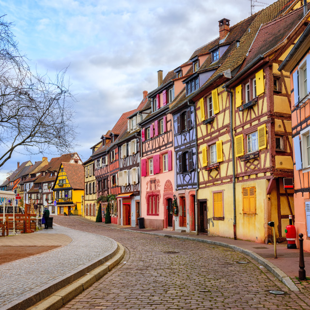 """""""Colorful half-timbered houses in medieval town Colmar, Alsace, F"""" stock image"""