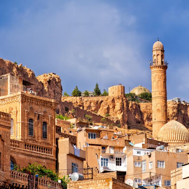 """Old town of Mardin, small town near Diyarbakir on syrian border in Turkey"" stock image"