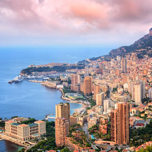 """Principality of Monaco at sunrise"" stock image"