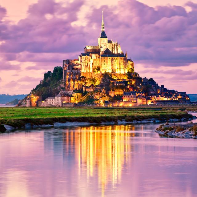 """Mont Saint-Michel, France, on sunset"" stock image"
