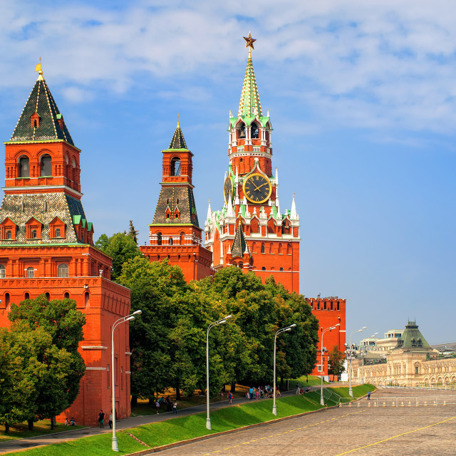 """""""Red square and Kremlin towers, Moscow, Russia"""" stock image"""