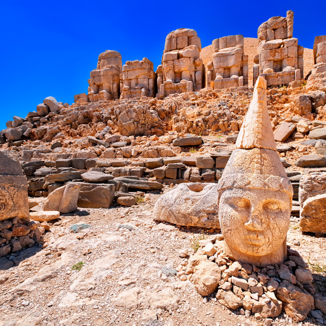 """""""Antique statues on the top of Nemrut mountain at sunrise, Turkey"""" stock image"""