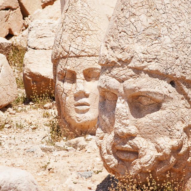 """Antique statues on top of Nemrut mountain, Turkey"" stock image"