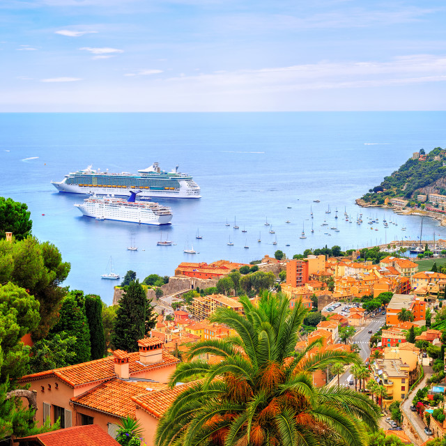 """""""Cruising ships in a lagoon of Villefranche by Nice, France"""" stock image"""