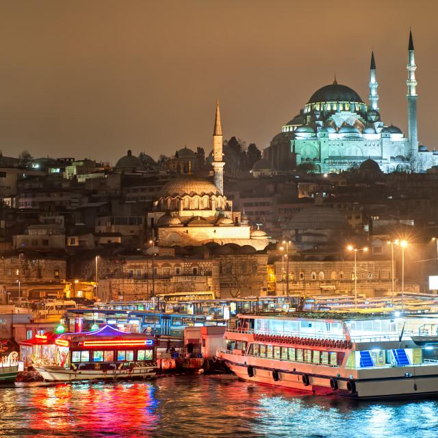 """Istanbul, Turkey, at night"" stock image"