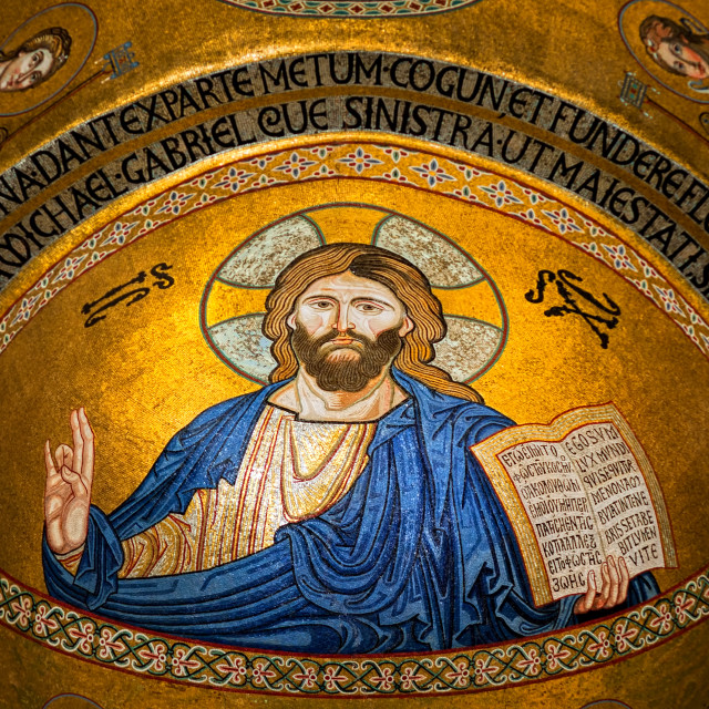 """Jesus Christ golden mosaic icon in Monrelae cathedral, Palermo"" stock image"
