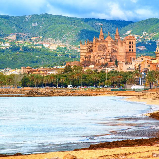 """""""Panoramic view of Palma beach, Majorca, Spain"""" stock image"""