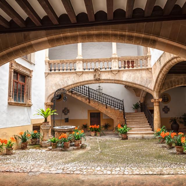 """""""Picturesque mediterranean courtyard in Palma de Mallorca, Spain"""" stock image"""