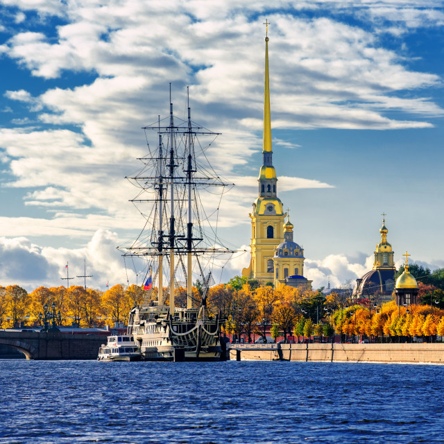 """""""St Petersburg, Russia. Sailing ship anchored by the Peter and Paul Fortress."""" stock image"""