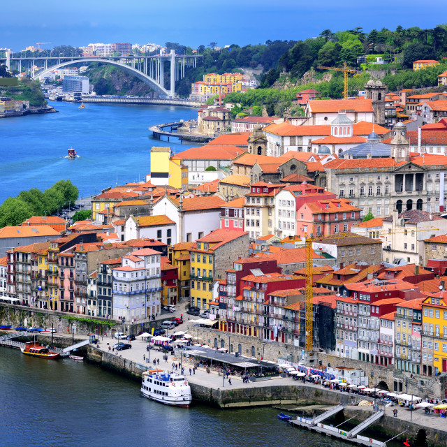 """""""Ribeira, the old town of Porto, and the river Douro, Portugal"""" stock image"""