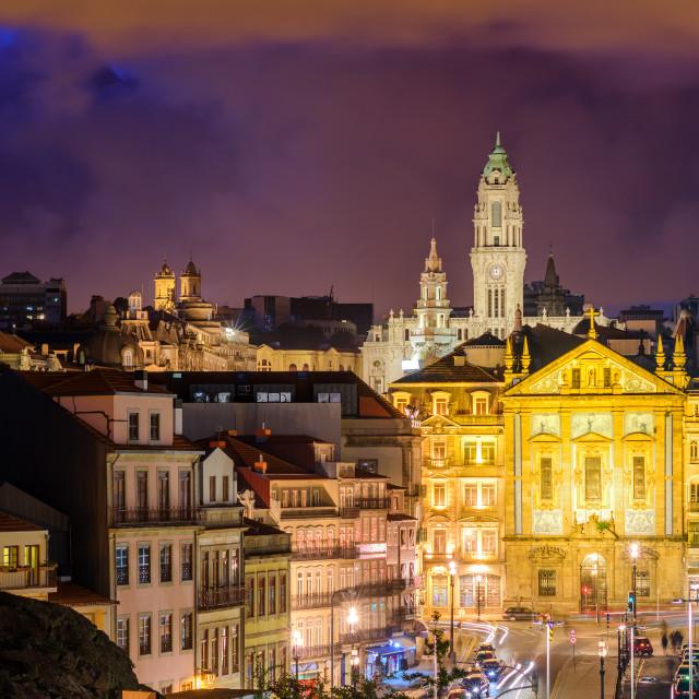 """Skyline of Porto at night, Portugal"" stock image"
