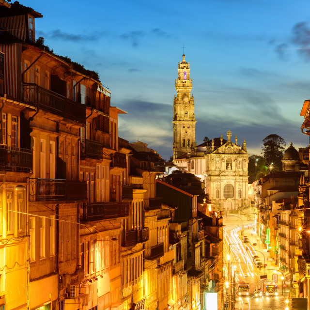 """""""Panorama of Porto with Dos Clerigos cathedral at night, Portugal"""" stock image"""