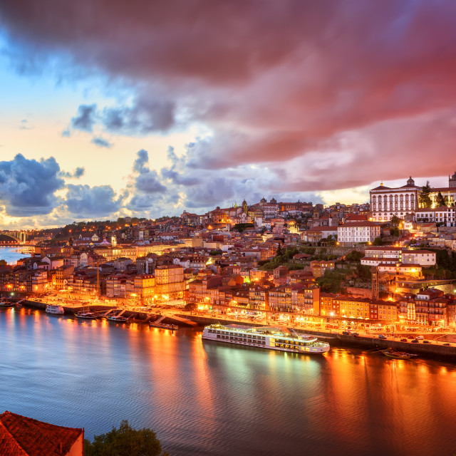 """""""Dramatic sunset in Porto, Portugal"""" stock image"""