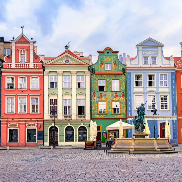 """""""Colorful renaissance facades on the central market square in Poznan, Poland"""" stock image"""