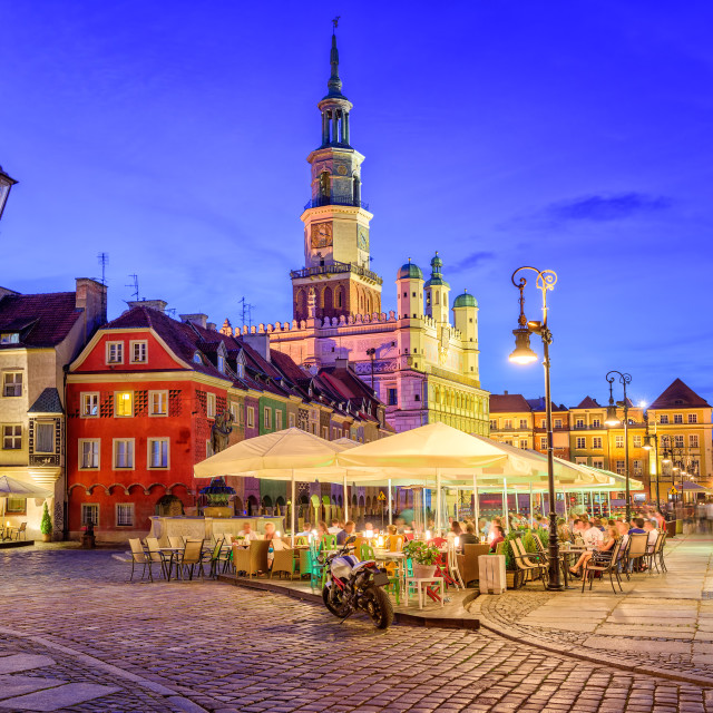 """""""Main square of the old town of Poznan, Poland on a summer day evening."""" stock image"""