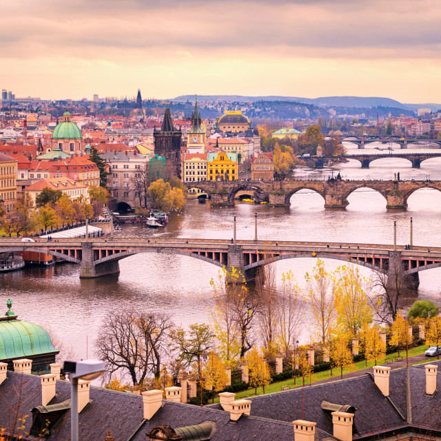 """Prague bridge panorama in sunset light, Czech Republic"" stock image"