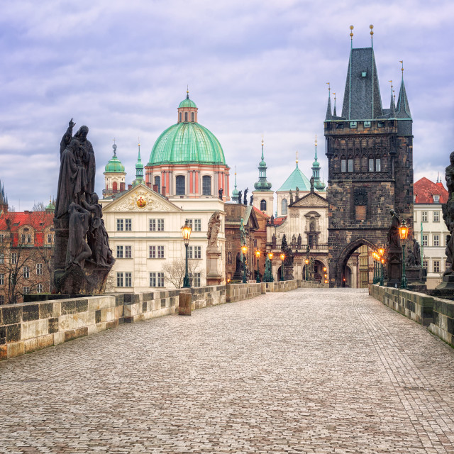 """Charles bridge and the skyline of Prague, Czech Republic"" stock image"
