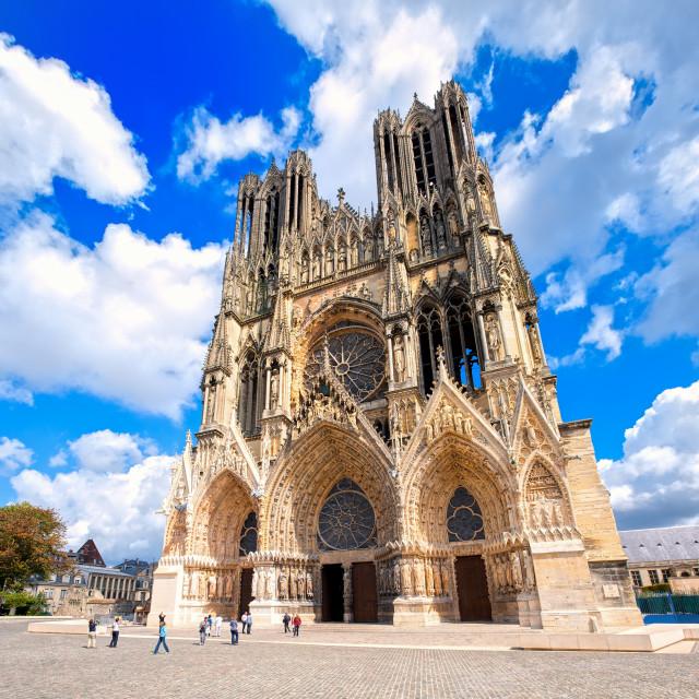 """Notre Dame de Reims Cathedral, France"" stock image"