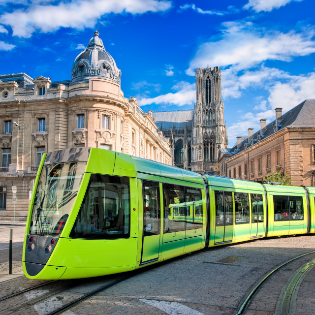 """""""Modern tram on the streets of the old town of Reims, France"""" stock image"""