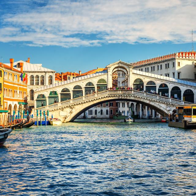 """The Grand Canal and Rialto bridge, Venice, Italy"" stock image"
