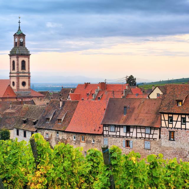 """Riquewihr, Alsace, France on sunset"" stock image"