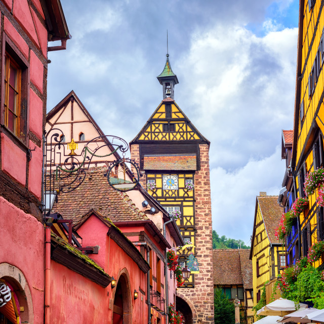 """""""Colorful houses on a central street in Riquewihr, village on wine route in..."""" stock image"""
