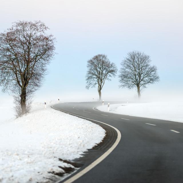 """Winding winter road"" stock image"