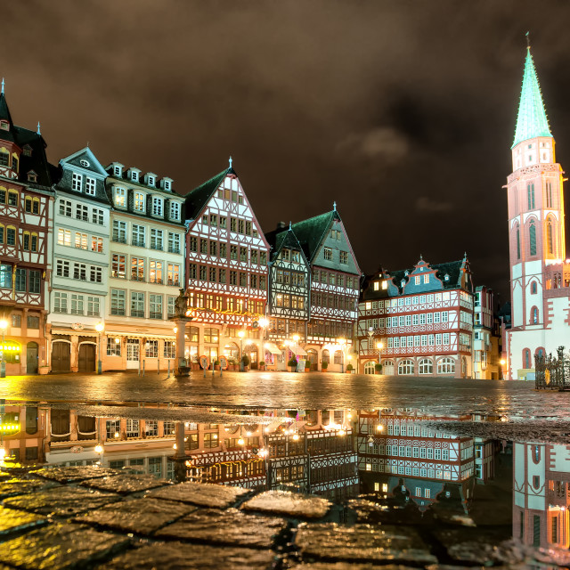 """""""Old town of Frankfurt on Main at night, Germany"""" stock image"""