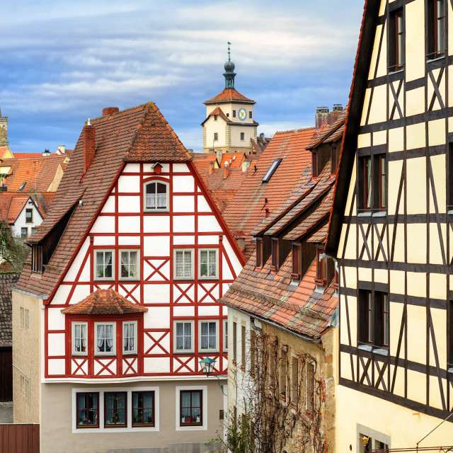 """""""Traditional red tile roofs and half-timbered houses in Rothenburg ob der..."""" stock image"""