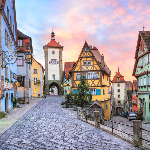 """""""Colorful half-timbered houses in Rothenburg ob der Tauber, Germany"""" stock image"""