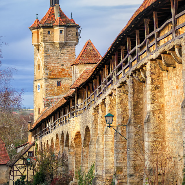 """""""Medieval city wall in Rothenburg ob der Tauber, Germany"""" stock image"""