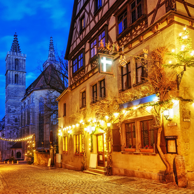 """""""Christmas decoration lights at night in Rothenburg ob der Tauber, Germany"""" stock image"""